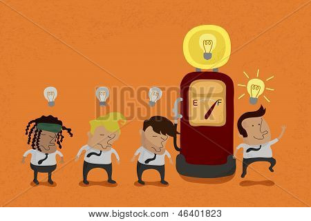 Businessman recharge the Idea