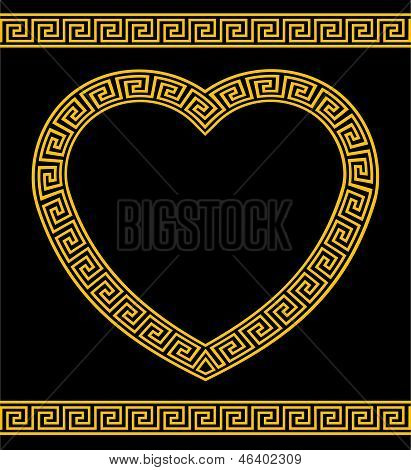 Greek Key Pattern Heart Shape Frame