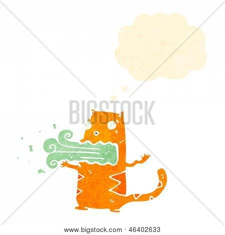 retro cartoon cat with bad breath