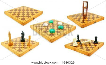 Set Of Chess Boards With Chessmens And Checkers Isolated