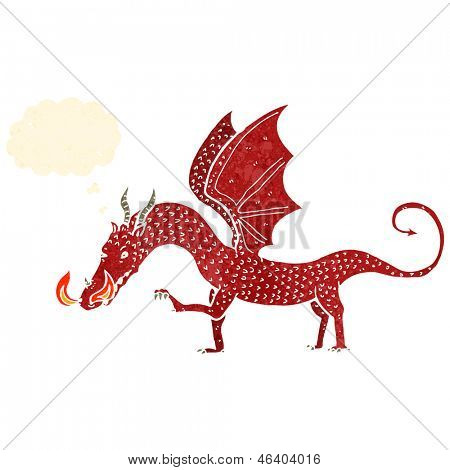 retro cartoon dragon illustration