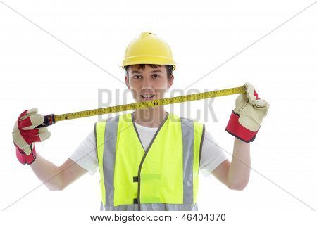 Apprentice Holding Builders Tape Measure