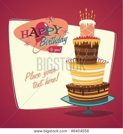 Cartão retro vintage feliz aniversário com bolo