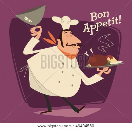 Nice Chef serving the dish. Retro style vector illustration