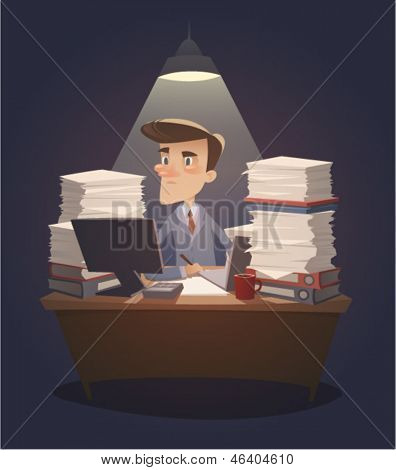 Hard working night in office. Retro style vector illustration