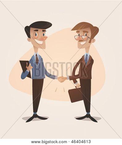 Business deal handshake. Retro style vector illustration