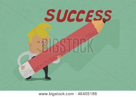 Businessman with pencil writing success , eps10 vector format