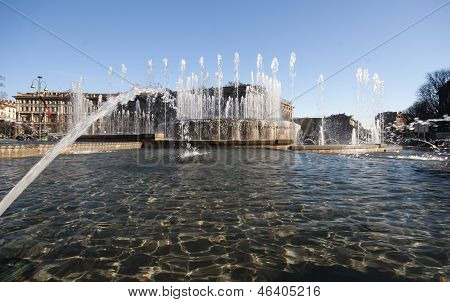 Fountain at Sforza Castle in Milan