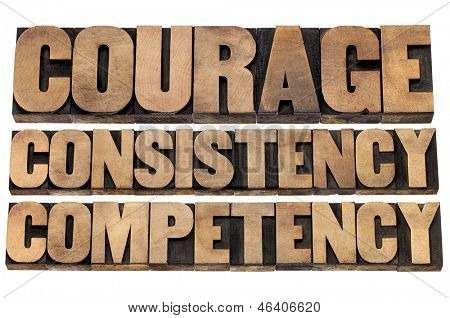 courage, consistency, competency - 3 Cs concept of character based leadership - isolated text in vintage letterpress wood type