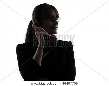 one business woman telephone  silhouette studio isolated on white background