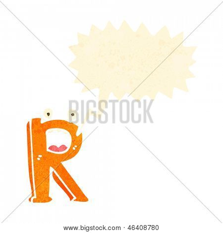 retro cartoon letter r with speech bubble