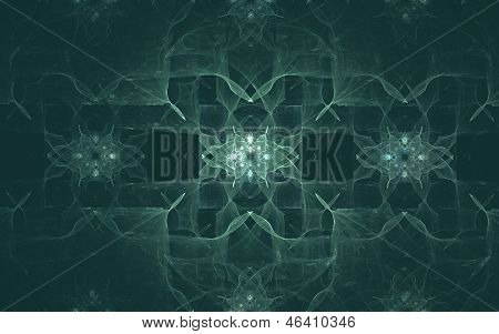 Abstract futuristic pattern on a dark turquoise background