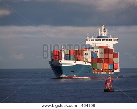Container Ship And Buoy