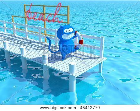 cat on a pier