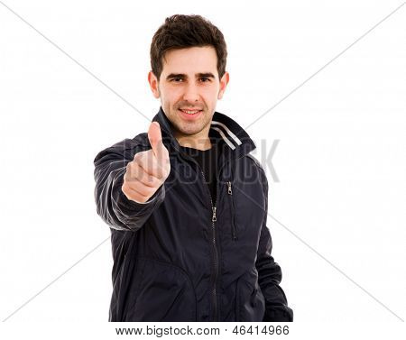 Happy casual man giving thumbs up sign, isolated on white background