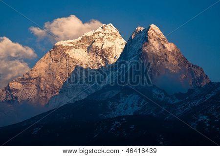 Mountain Ama Dablam (6814 M) At Sunset. Himalayas. Nepal