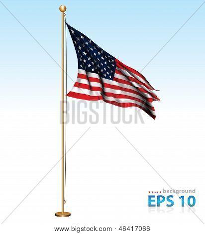 USA flag on flag pole