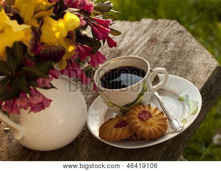 cup of coffee and cookies in the garden outdoors