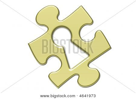 Isolated Gold Puzzle With Keyhole