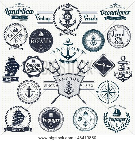 Vintage Retro nautische Badges en Labels