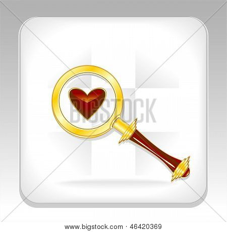 Gold magnifier icon or button with heart