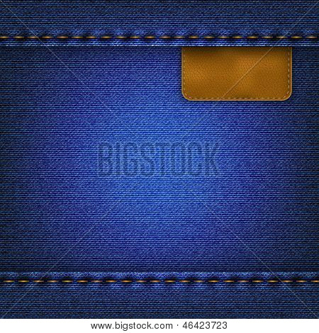 Jeans Background With A Leather Label