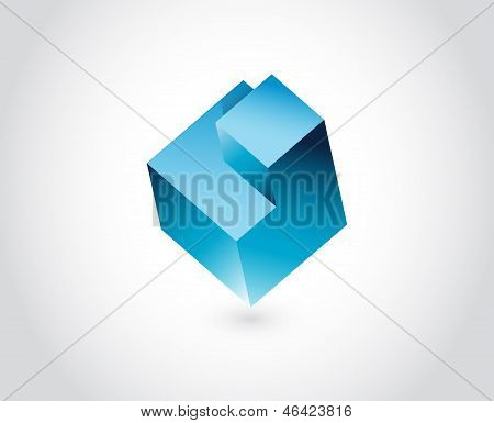 Abstract Logo Template. Logic Puzzle Cube