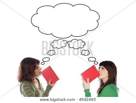 Two Young Girls Thinking With Books