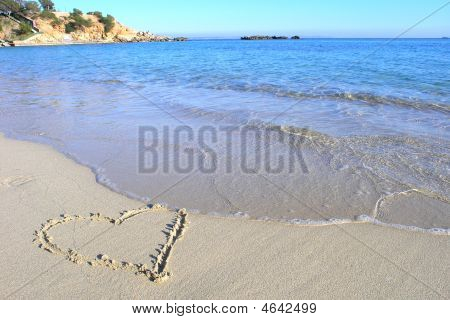 Love Heart On Beach