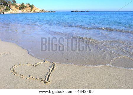 Love Heart On Beach