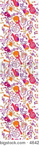 Colorful musical instruments seamless pattern background
