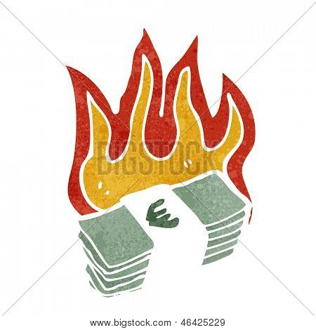 burning euros cartoon