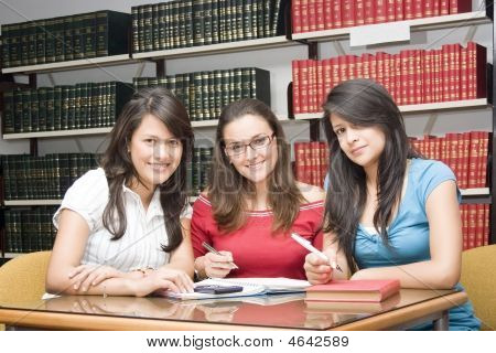 Three Women In Library