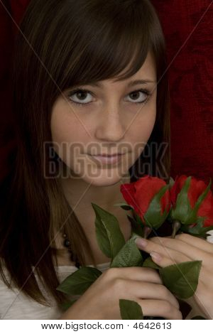 Attractive Girl With Roses