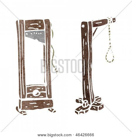 retro cartoon guillotine and hangman's noose