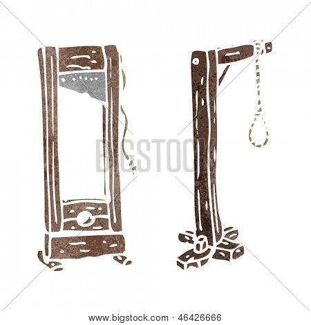 retro cartoon guillotine and hangman's noose