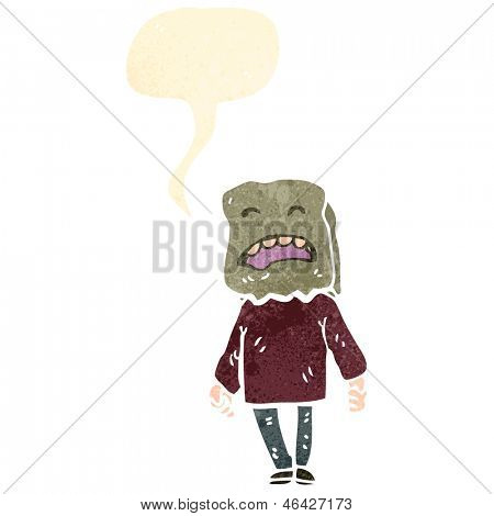retro cartoon ugly man with bag on head