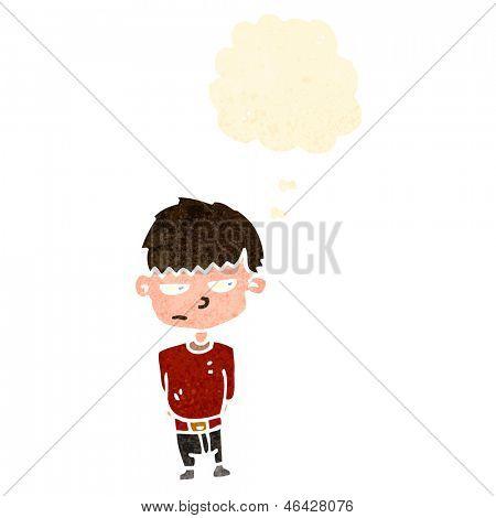 retro cartoon grumpy boy