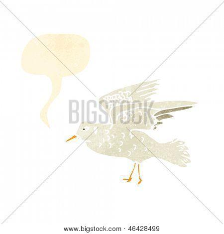 retro cartoon seagull squawking