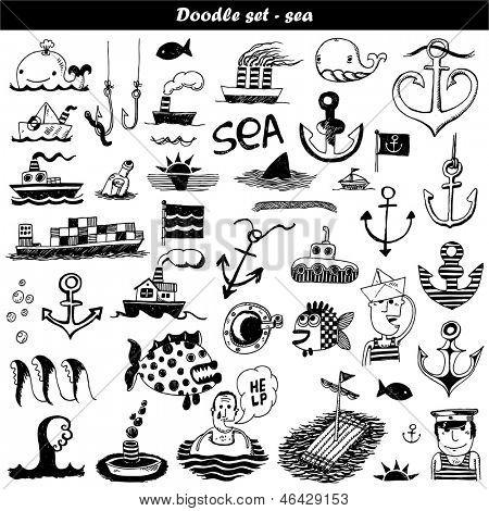 Doodle set - sea