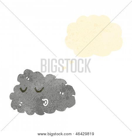 retro cartoon raincloud with thought bubble