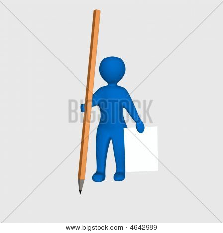 Worker - Man With Pencil And Paper