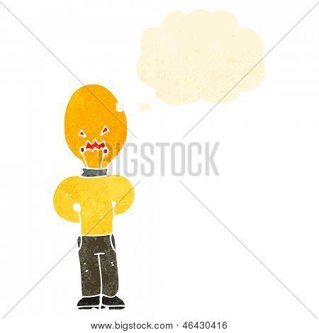 retro cartoon man with light bulb head