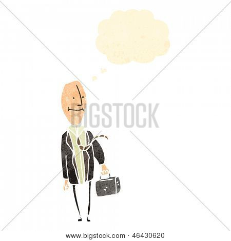 retro cartoon egghead businessman