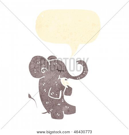 elefante de dibujos animados retro con el bocadillo de diálogo
