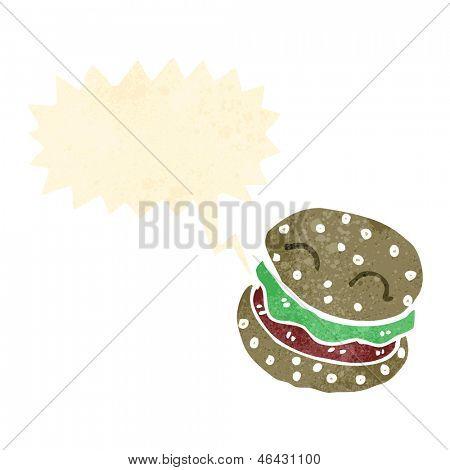dibujos animados retro hablar burger