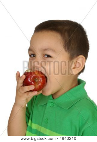 Kid Eating Apple, Three Years Old