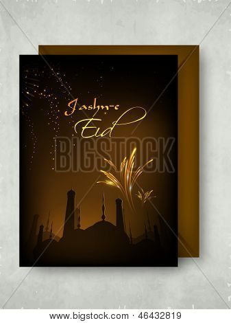 Greeting card for Eid Mubarak with fire crackers, celebration background.