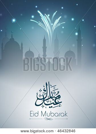 Arabic Islamic calligraphy of text Eid Mubarak with view of mosque in fire crackers light.
