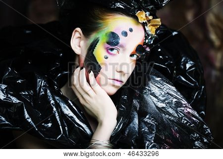 Bright creative Make-up.Beautiful Woman's Face
